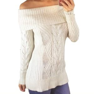 WHBM Off Shoulder Wool Blend Sweater